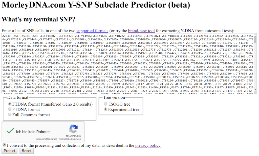 Εικ. 4: Κατάλογος των θετικών/αρνητικών SNPs (AncestryDNA).